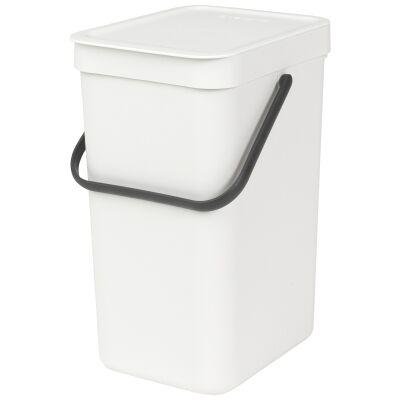 Brabantia Sort & Go Waste Bin, 12 Litre, White