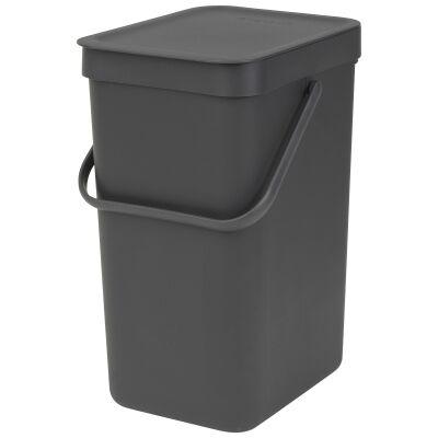 Brabantia Sort & Go Waste Bin, 12 Litre, Grey
