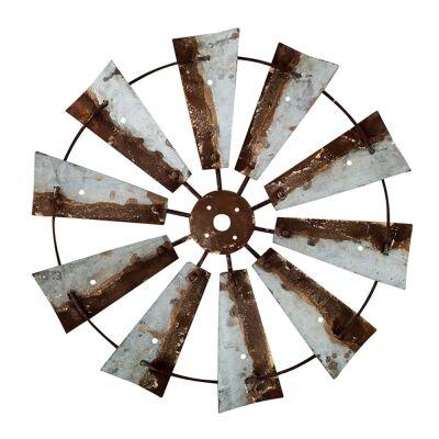 Farmers Market Rustic Metal Windmill Wall Art, 80cm