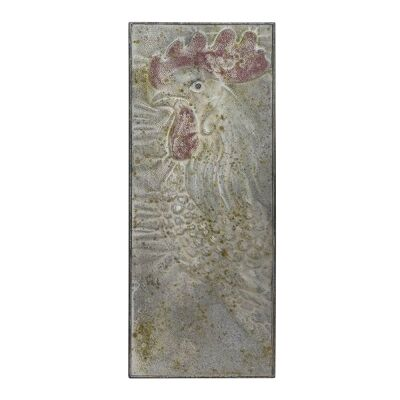 Rustic Metal Rooster Profile Plaque Wall Art, 90cm