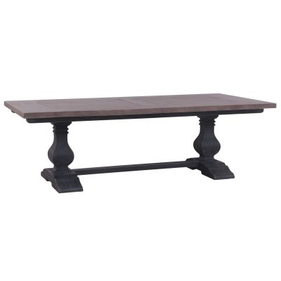 Calverton Mahogany Timber Trestle Dining Table, 244cm, Sorel Brown / Weathered Black