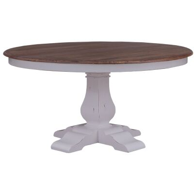Calverton Mahogany Timber Mini Round Cake Stand. 25cm, Antique French Oak / Distressed White