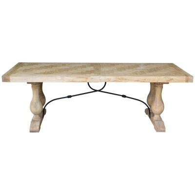 Boston Reclaimed Elm Timber Dining Table, 240cm