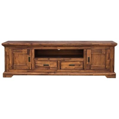 Fratti Acacia Timber 2 Door 2 Drawer Lowline TV Unit, 180cm