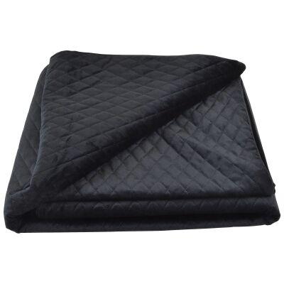Bolero Velvet Quilted Bed Coverlet, 145x250cm, Black
