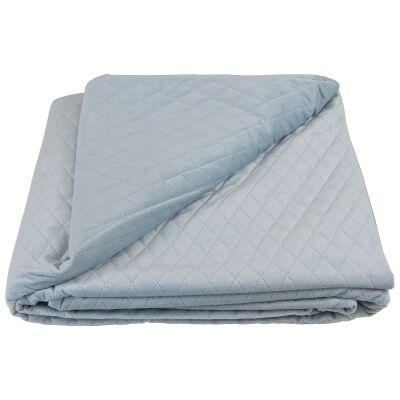 Bolero Velvet Quilted Bed Coverlet, 145x250cm, Baby Blue