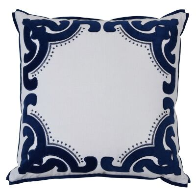 Bronte Velvet & Cotton Scatter Cushion Cover, Navy