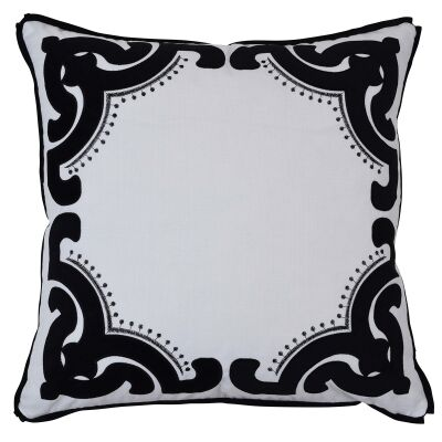 Bronte Velvet & Cotton Scatter Cushion Cover, Black