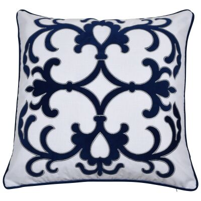 Lennox Velvet & Cotton Scatter Cushion Cover, Navy