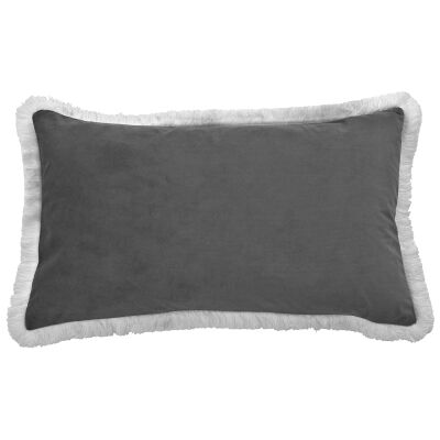 St. Kilda Velvet Lumbar Cushion Cover, Grey