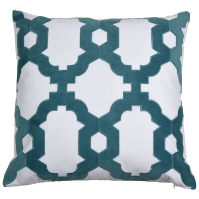 Brighton Velvet & Cotton Scatter Cushion Cover, Turquoise