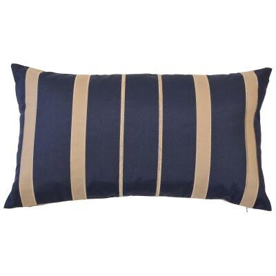 Cancun Fabric Indoor / Outdoor Lumbar Cushion Cover, Navy / Khaki