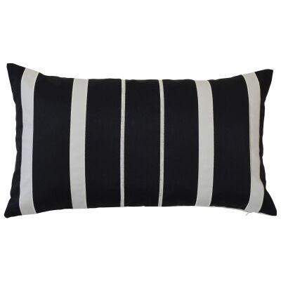Cancun Fabric Indoor / Outdoor Lumbar Cushion Cover, Black / Ecru
