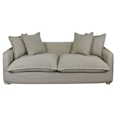 Marvyn Fabric Slipcover Sofa, 3 Seater, Taupe