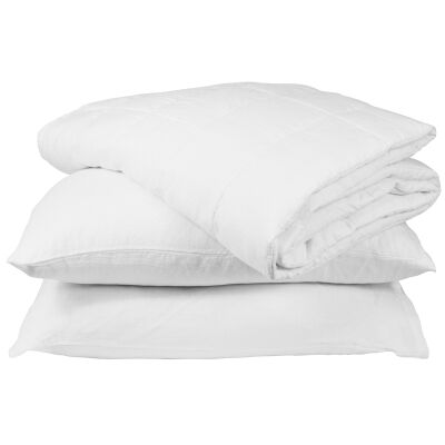 Taj French Linen Comforter, White