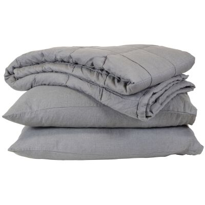 Taj French Linen Comforter, Charcoal