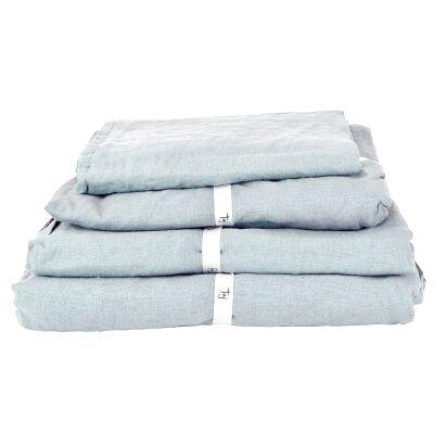 Taj French Linen Fitted Sheet, Queen, Blue