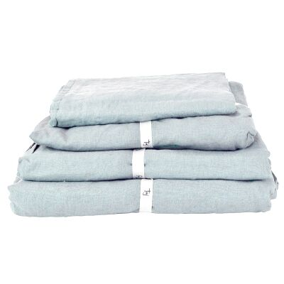 Taj French Linen Flat Sheet, King, Blue
