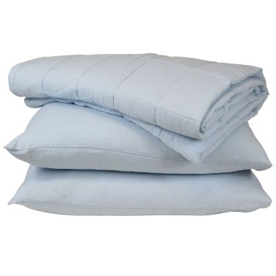 Taj French Linen Comforter, Blue