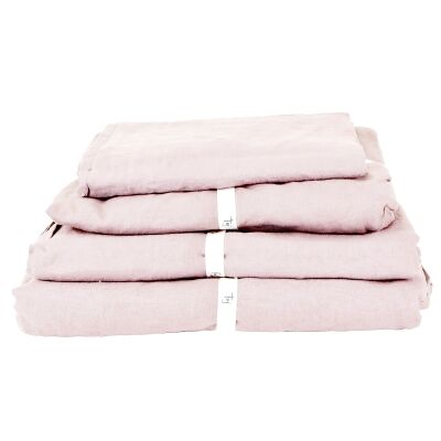 Taj French Linen Flat Sheet, King, Blush