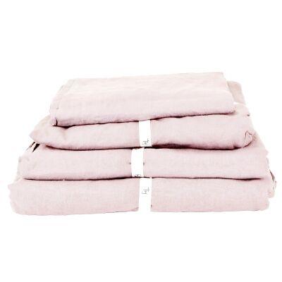Taj French Linen Fitted Sheet, King, Blush