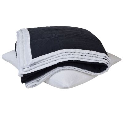 Taj French Linen Bedcover, Navy