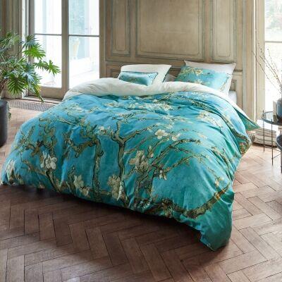 Beddinghouse Van Gogh Almond Blossom Cotton Sateen Quilt Cover Set, Queen, Blue