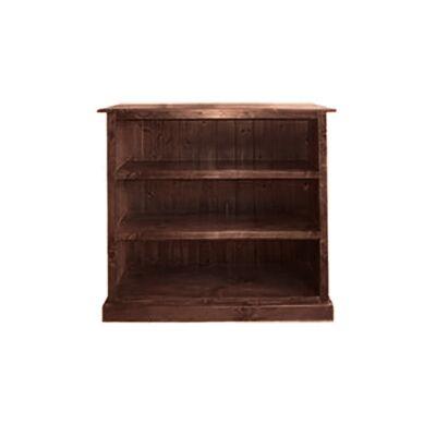 LA New Zealand Pine Timber Low Bookcase, 90cm, Walnut