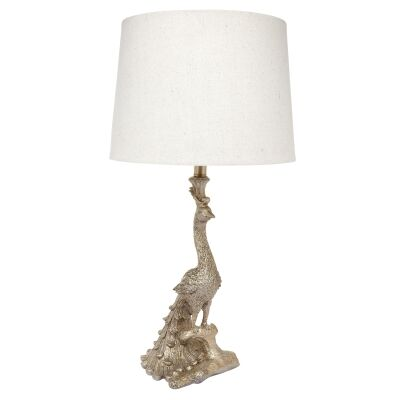 Peacock Resin Base Table Lamp, Gold
