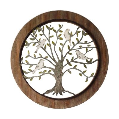 Wooden Framed Metal Tree Wall Art, 60cm