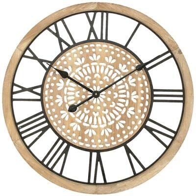Fleury Wooden Round Wall Clock, 60cm