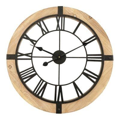 Celeyran Wood & Metal Round Wall Clock, 60cm