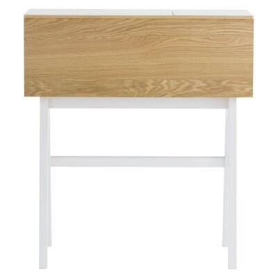 Valen Commercial Grade Drop Front Study Desk, 96cm, White / Oak