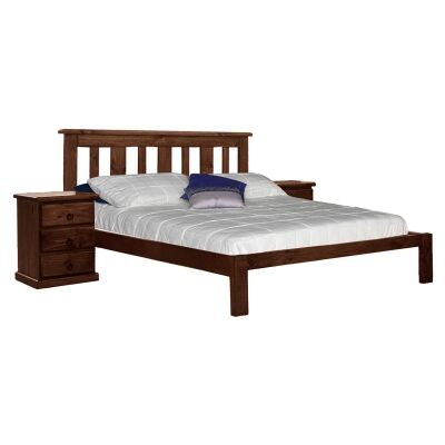 Gina New Zealand Pine Timber Bed, Queen, Walnut