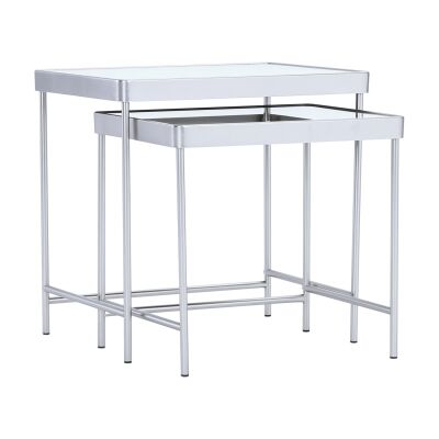 Cameo 2 Piece Mirror Topped Metal Nesting Table Set