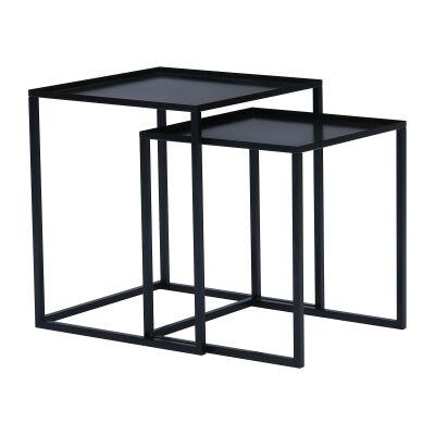 Cariad 2 Piece Metal Nesting Table Set, Black
