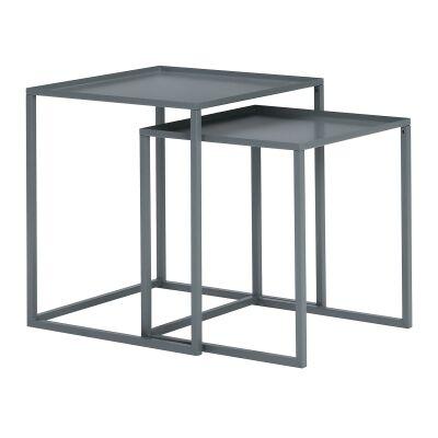 Cariad 2 Piece Metal Nesting Table Set, Grey