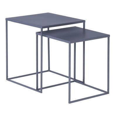 Darnell 2 Piece Metal Nesting Table Set, Iridium