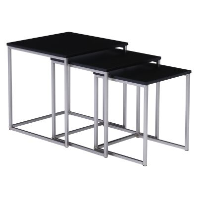 Melor 3 Piece Wood Topped Metal Nesting Table Set, Black / Silver