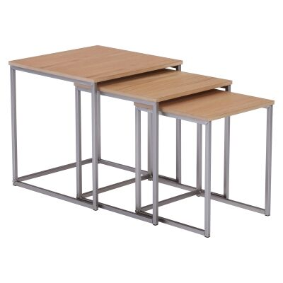 Melor 3 Piece Wood Topped Metal Nesting Table Set, Oak / Silver