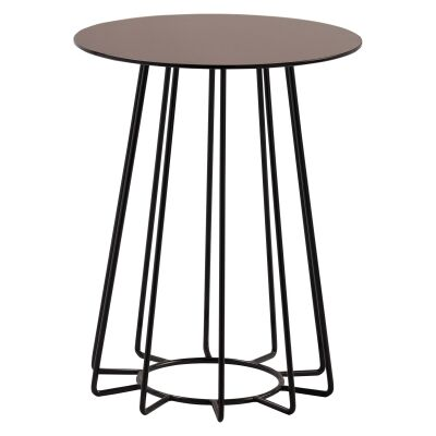 Cyrus Mirror Top Metal Round Side Table