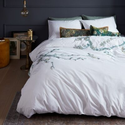 Beddinghouse Van Gogh Almond Blossom Embroidered Cotton Sateen Quilt Cover Set, Queen, White