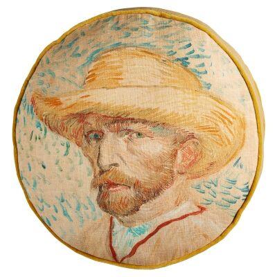 Beddinghouse Van Gogh Self-Portrait with Straw Hat Cotton Round Cushion