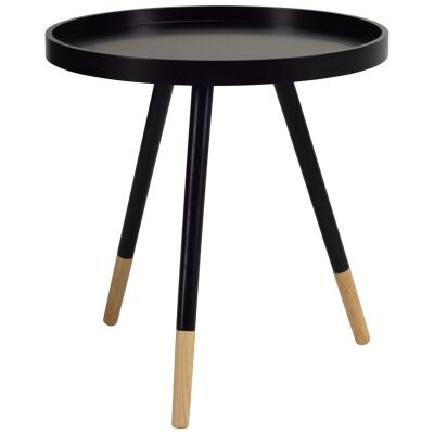 Innis Oak Timber Round Tray Top Side Table, Black