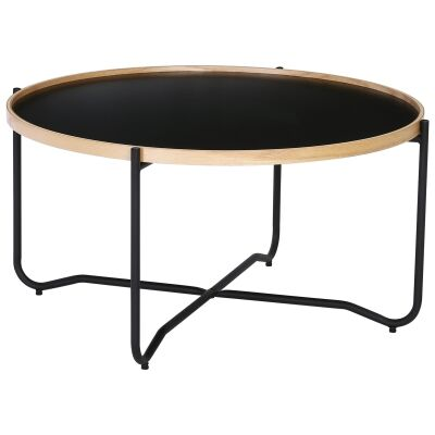 Tanix Wood & Metal Round Tray Top Coffee Table, 80cm