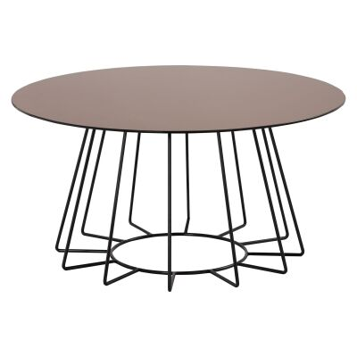 Cyrus Mirror Top Metal Round Coffee Table, 80cm
