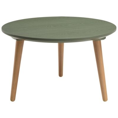 Carsyn Wooden Round Coffee Table, 60cm, Pickle Green / Oak