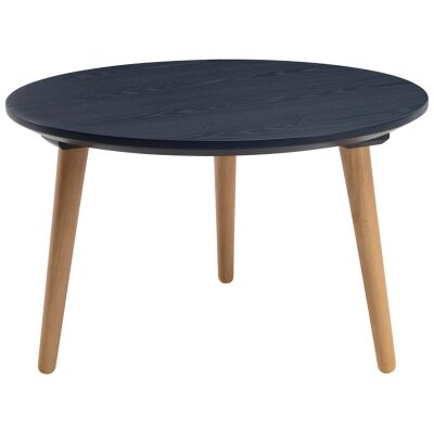 Carsyn Wooden Round Coffee Table, 60cm, Marine Blue / Oak