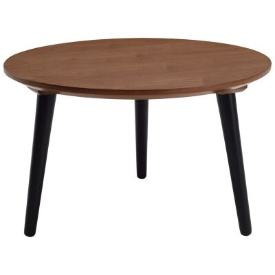 Carsyn Wooden Round Coffee Table, 60cm, Cocoa / Black