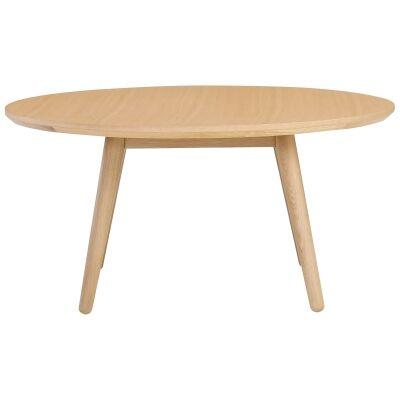 Oringo Commercial Grade Oak Timber Round Coffee Table, 90cm